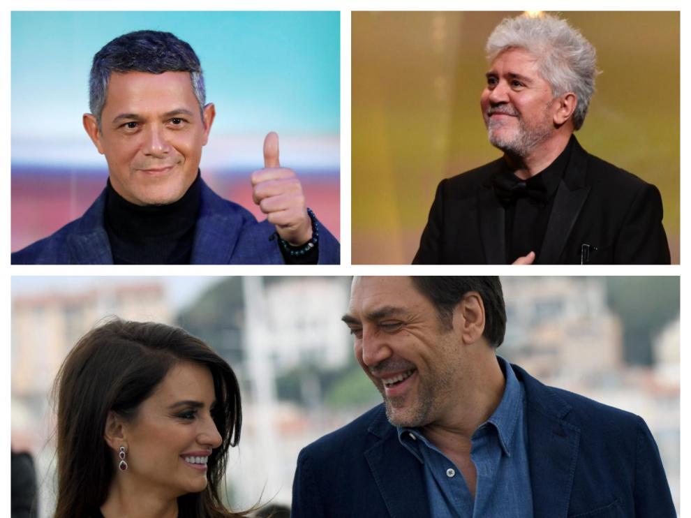 Alejandro Sanz, Pedro Almodóvar, Javier Bardem y Penélope Cruz