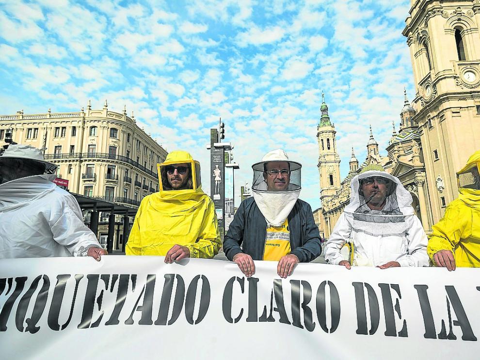Protesta de apicultores en la Palza del Pilar por el mal etiquetado de la miel UAGA / 19-10-2016 / Foto: José Miguel Marco [[[HA ARCHIVO]]]