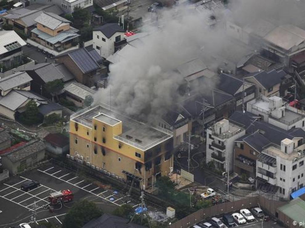 El estudio de animación que fue incendiado en Kioto, Japón.