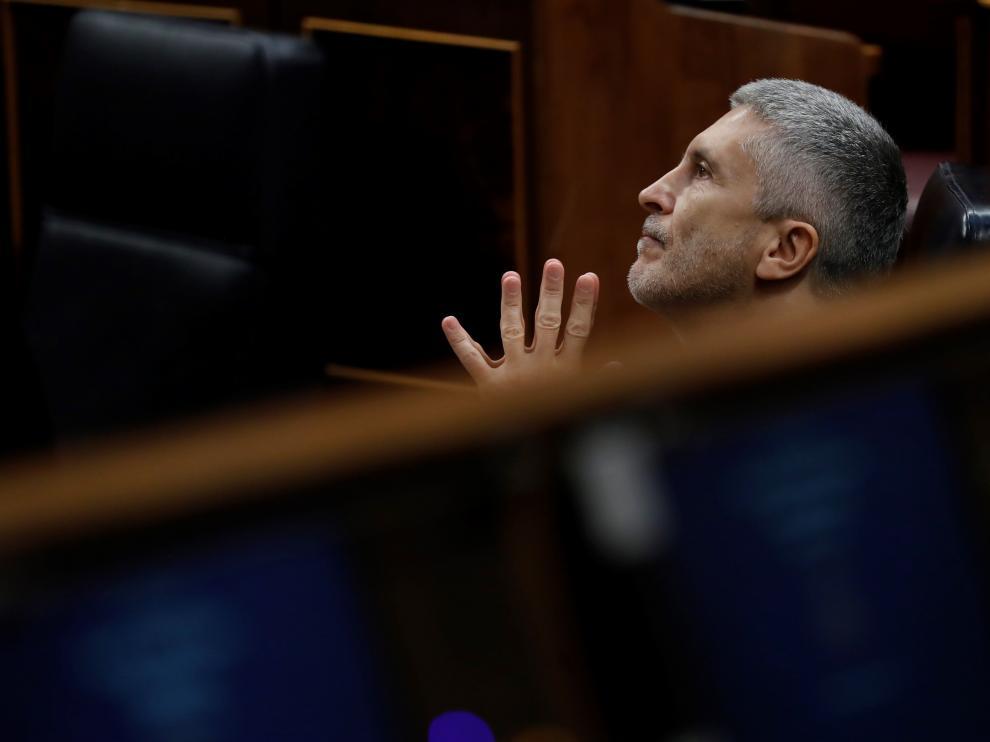 Fernando Grande-Marlaska este miércoles en el Congreso