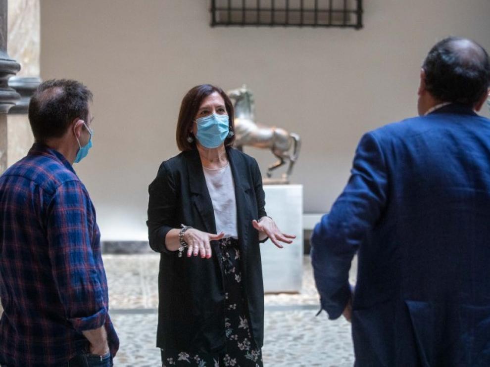 La vicealcaldesa Sara Fernández, esta mañana en el museo Pablo Gargallo.