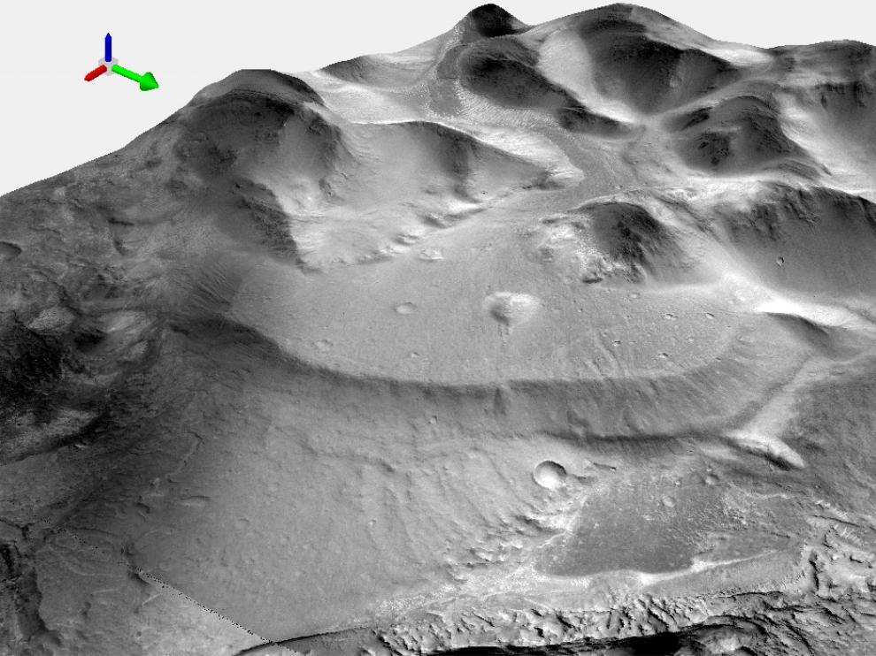 Modelo tridimensional de uno de los deltas de la región de Nepenthes Mensae generado por Ángel García-Arnay. La flecha verde indica el Norte.