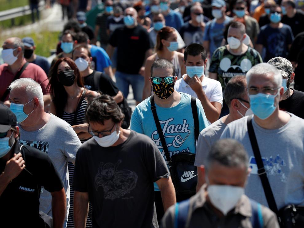 Protestas de trabajadores de Nissan en Barcelona