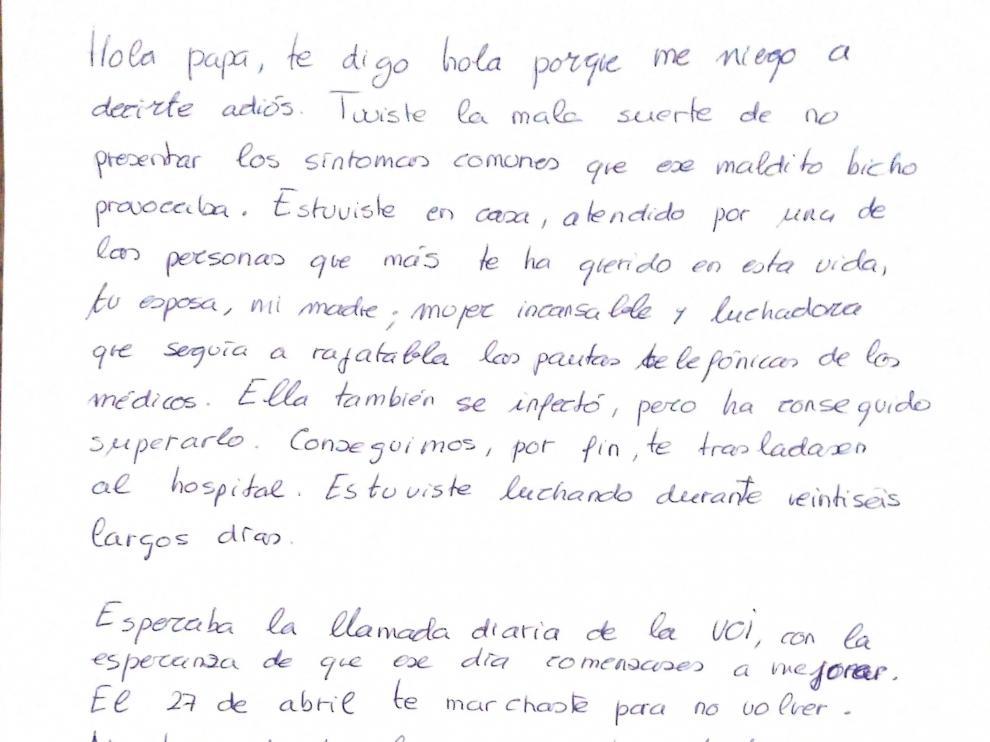 Carta manuscrita por Rosa Pilar Pérez Zarzoso a su padre.
