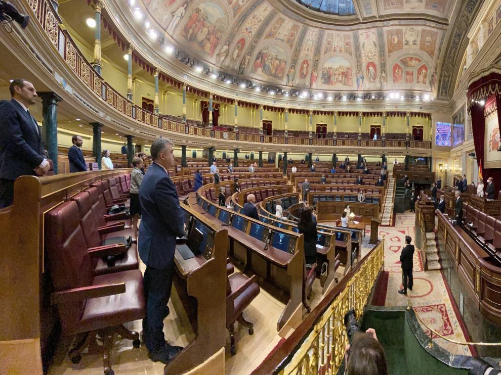 Un pleno del Congreso de los Diputados durante la pandemia.