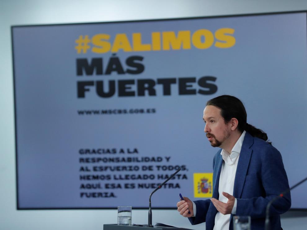 El vicepresidente segundo, Pablo Iglesias, ofrece una rueda de prensa tras el Consejo de Ministros celebrado este viernes.