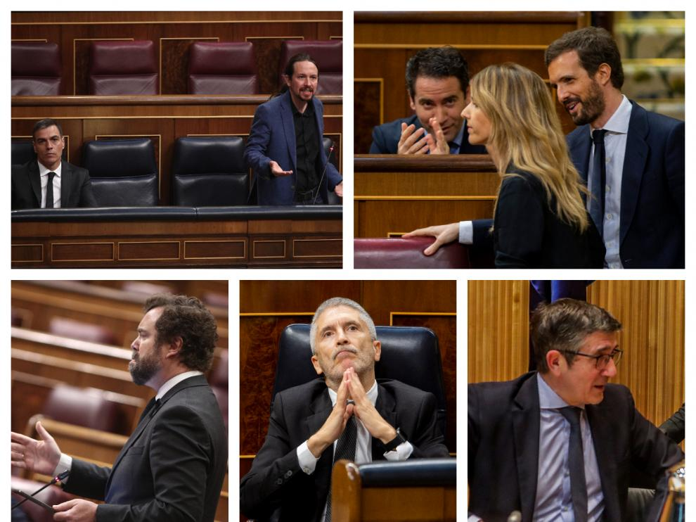 Algunos de los líderes políticos españoles, esta semana en el Congreso