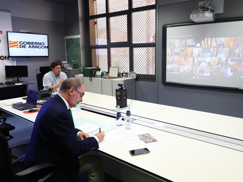Lambán, en la rueda de prensa de presidentes autonómicos con Sánchez