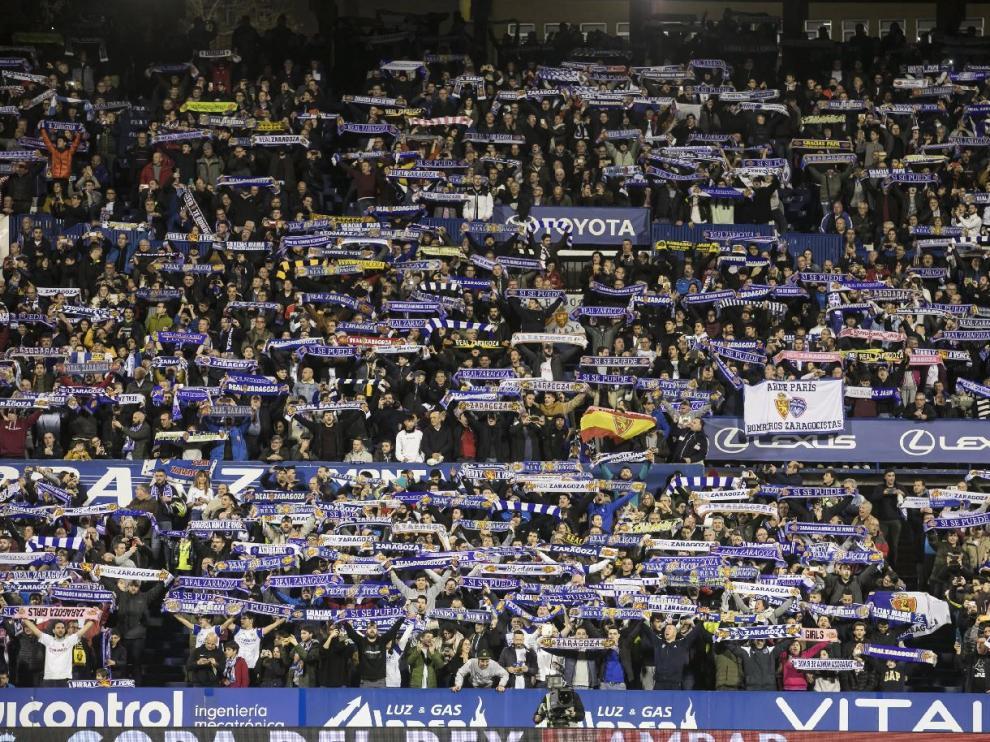 Las gradas de La Romareda, repletas durante el partido Real Zaragoza-Real Madrid de Copa disputado el pasado mes de enero.