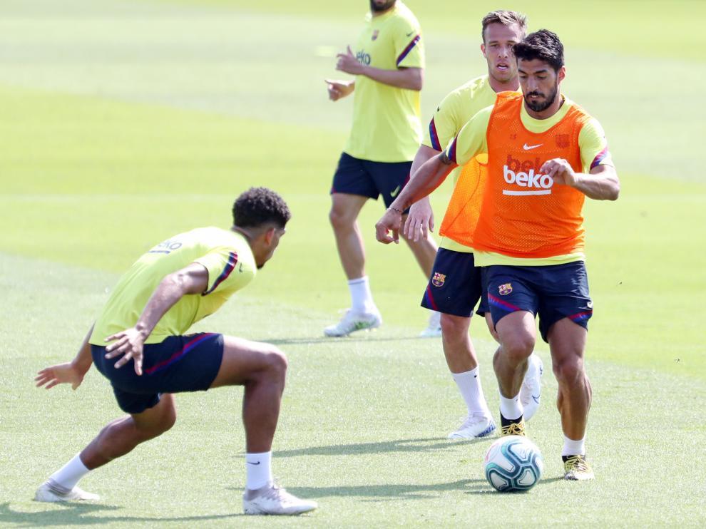 Luis Suárez, en un entrenamiento tras la vuelta a la actividad tras el parón.