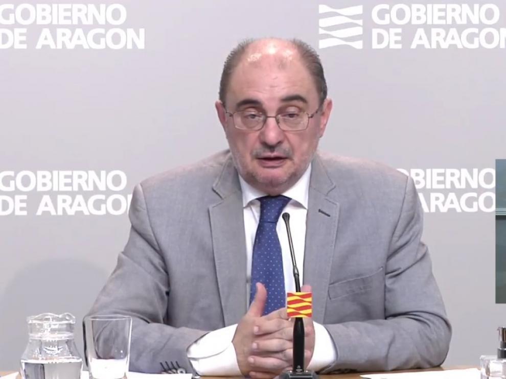 Javier Lambán, en su comparecencia de este domingo.