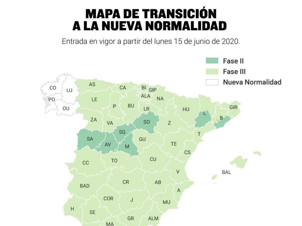 """Mapa explicativo de España sobre la Transición hacia la """"nueva normalidad""""."""