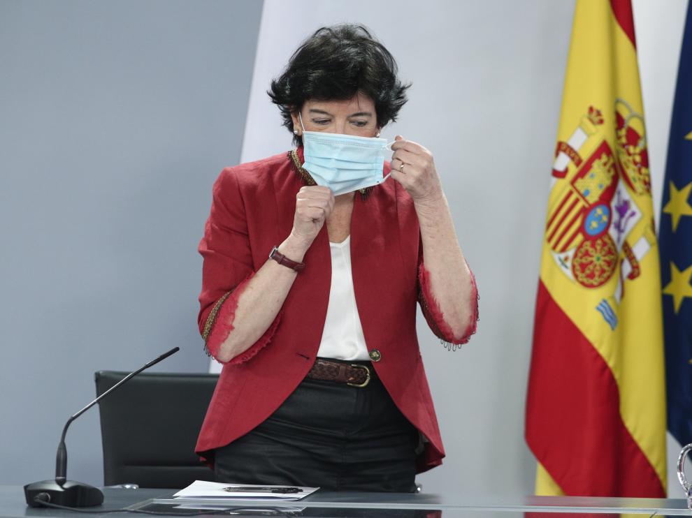 Isabel Celáa en rueda de prensa