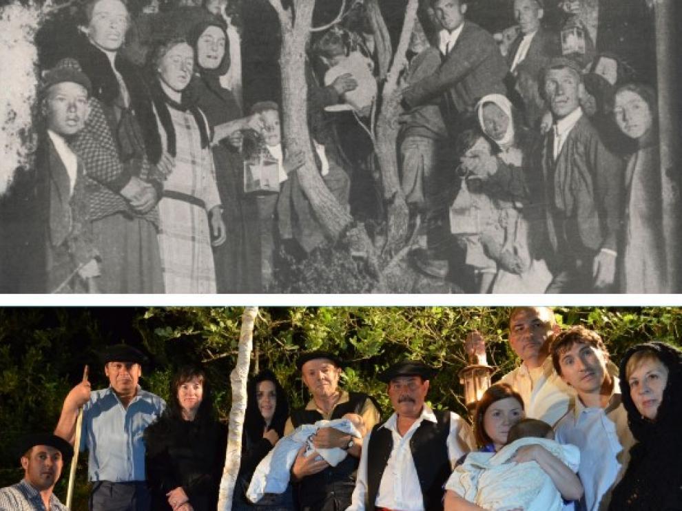 El rito del herniado en Lobera de Onsella, en 1926 y una recreación de 2016.