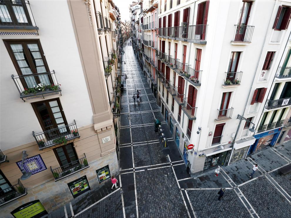 Un 7 de julio, día de San Fermín, sin toros en las calles de Pamplona