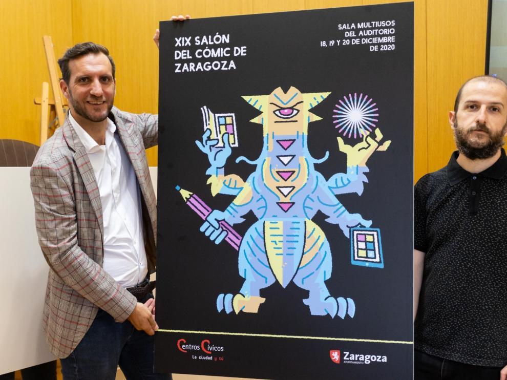 El consejero Javier Rodrigo (izquierda) junto a Álvaro Ortiz, autor del cartel.