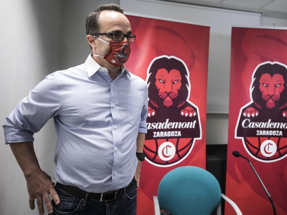 Presentación del nuevo entrenador del Casademont Zaragoza, Diego Ocampo