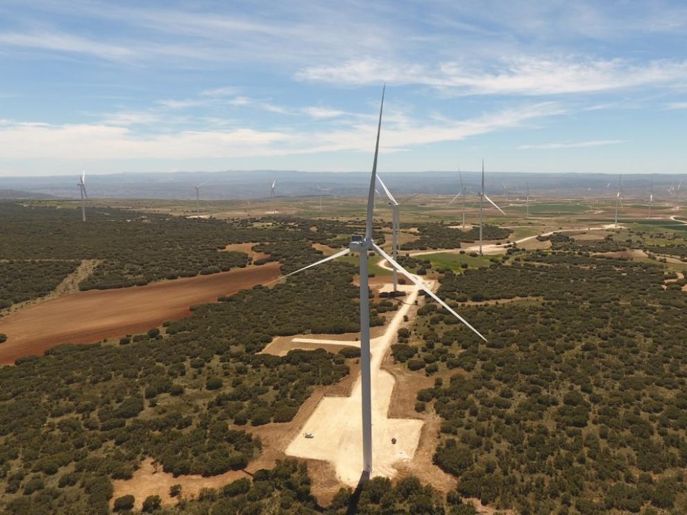 Imagen de algunos de los parques eólicos de Muniesa (Teruel).
