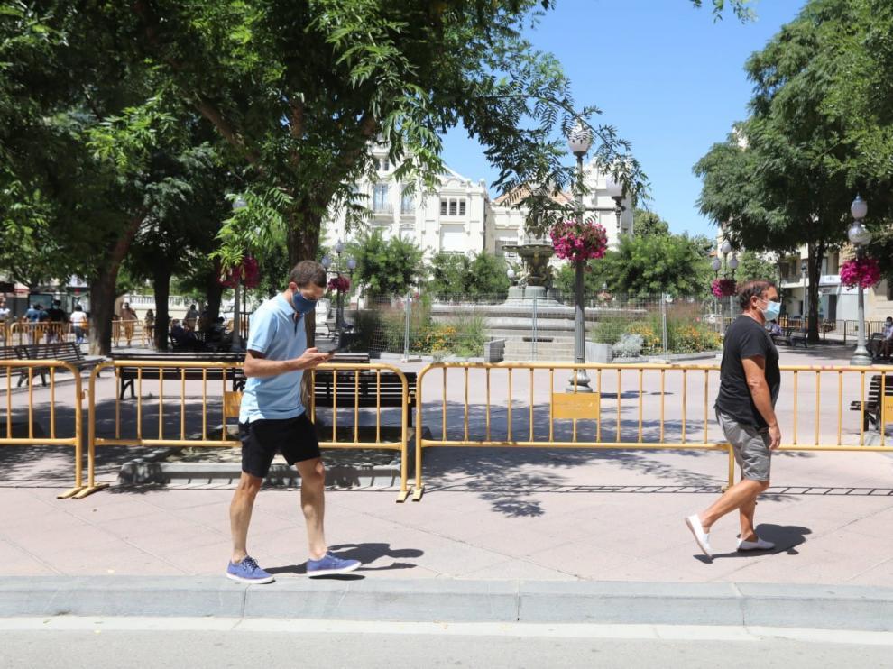 La plaza de Navarra de Huesca ya está vallada.
