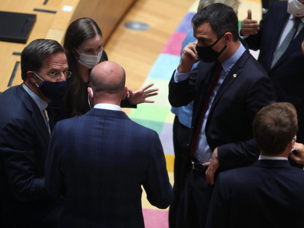 Los líderes europeos reunidos en Bruselas este lunes.