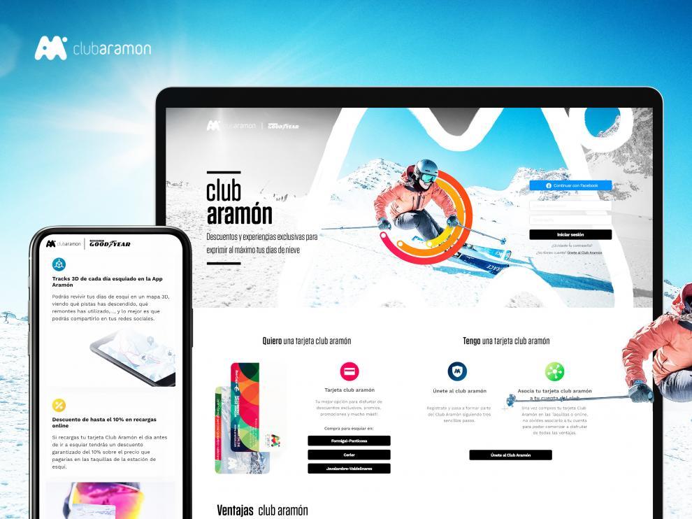 Imagen de la renovada web del Club Aramón, de diseño muy minimalista.