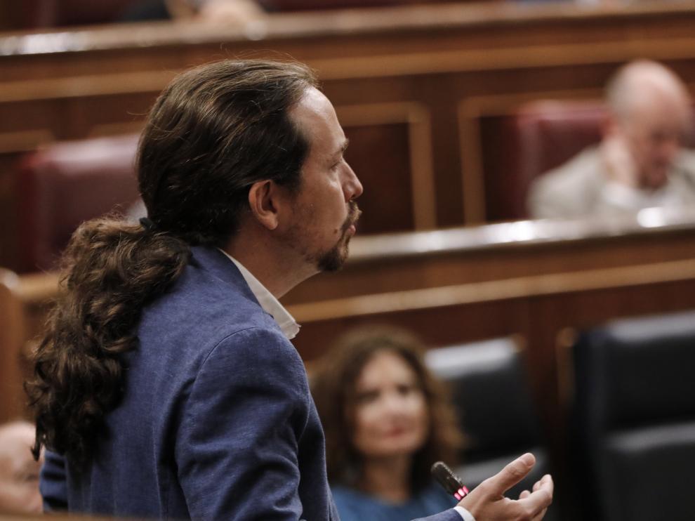Pablo Iglesias en el último Pleno de control del Congreso antes de septiembre.