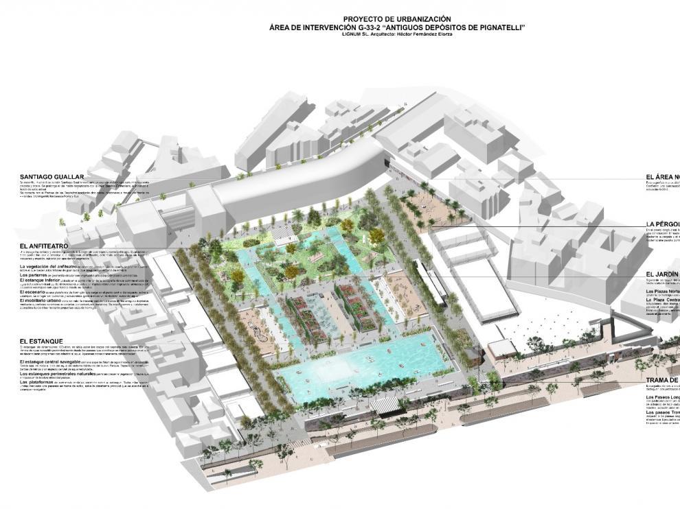 El proyecto de urbanización del parque Pignatelli.