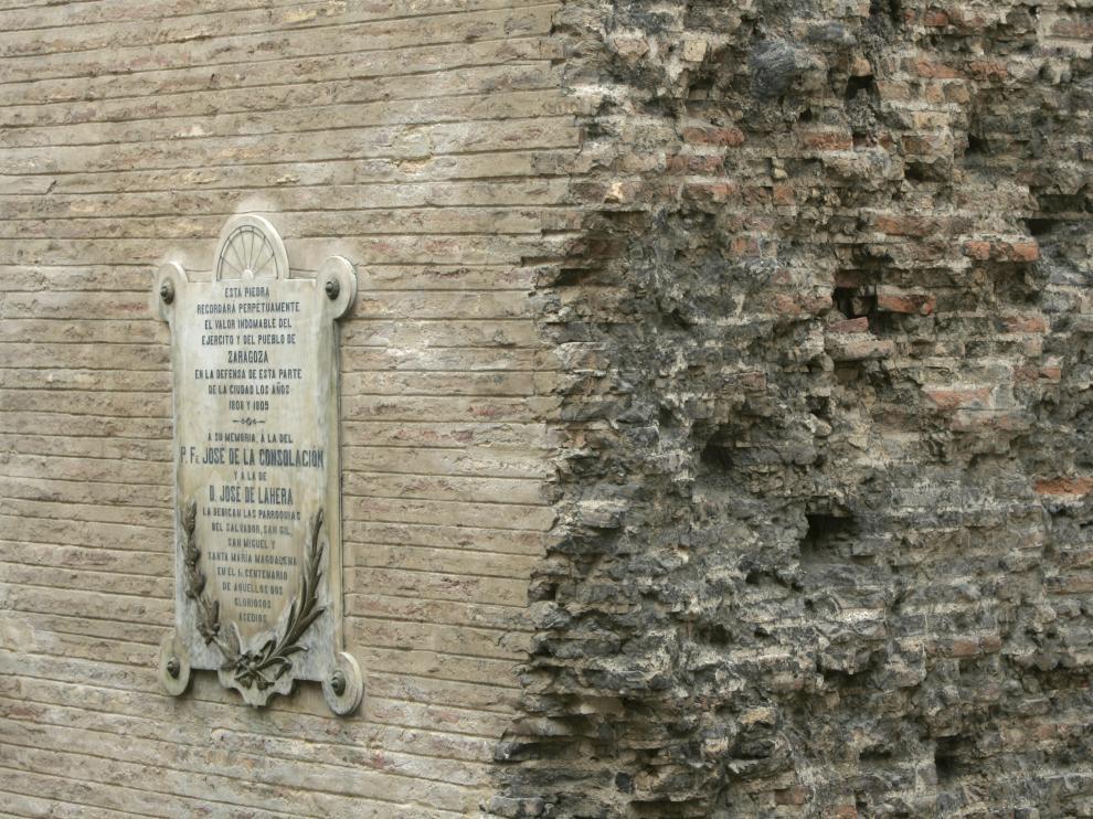 Casa de la calle de Palomar con el Pozo, con la huella de la metralla de los Sitios.