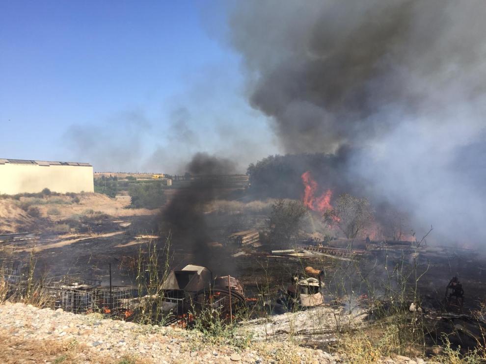 El incendio se extendió hasta la ribera del río.