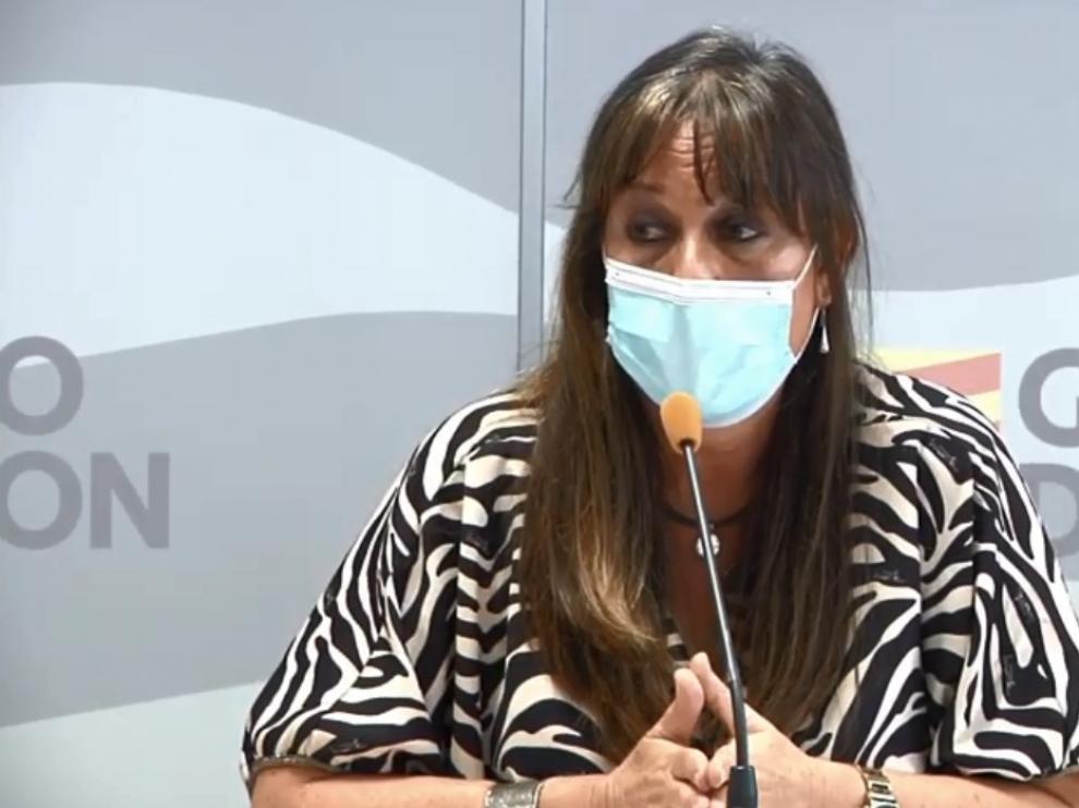 La consejera del Gobierno de Aragón Sira Repollés, en rueda de prensa este lunes.