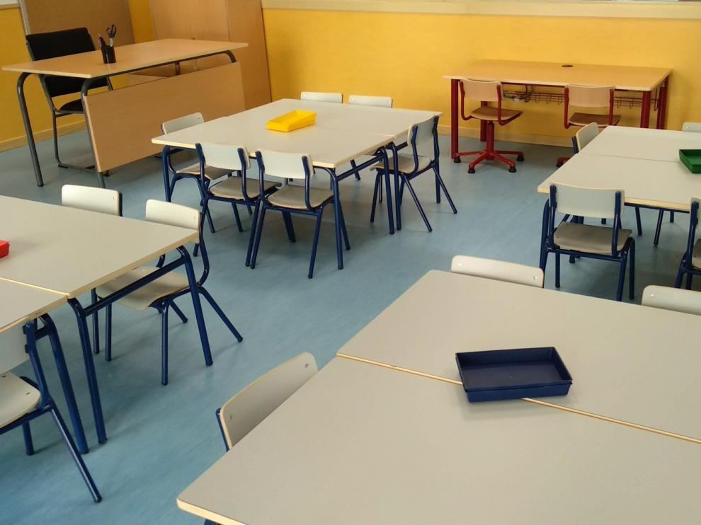 Aula en un colegio de Getafe, en Madrid.