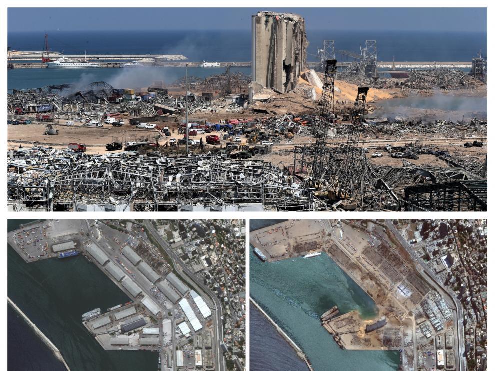 La explosión dejó la zona del puerto devastada. Abajo se ve el antes y el después de la deflagración