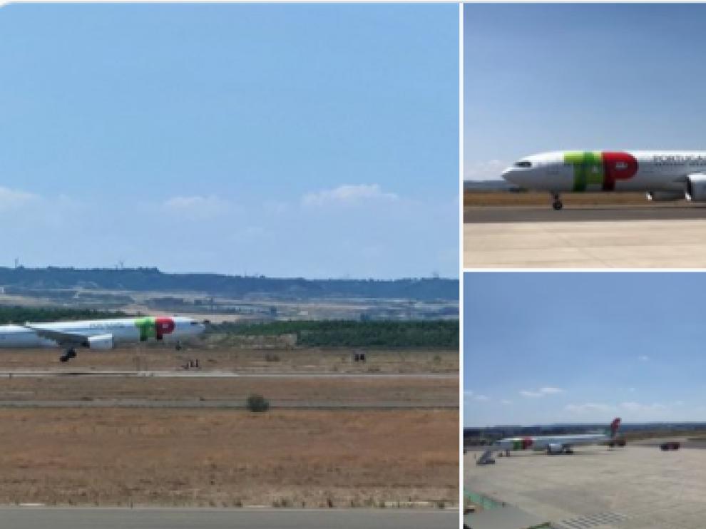 Avión de carga de TAP en el Aeropuerto de Zaragoza.