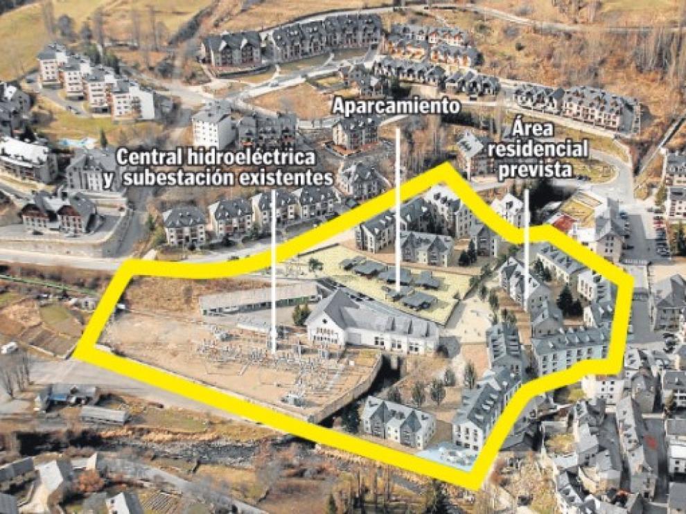 Recreación inicial de la urbanización del Poblado de Sallent, con bloques de tres plantas más ático, cuya distribución se fijará ahora en un concurso de ideas.