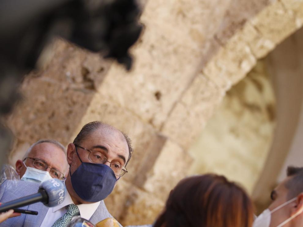 El presidente del Gobierno de Aragón, Javier Lambán, en el Monasterio de Piedra