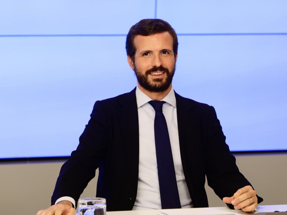 Pablo Casado este jueves en la reunión de la Junta Directiva Nacional del PP.