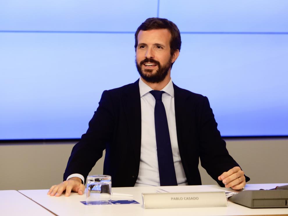 El líder popular, Pablo Casado, esta semana en la Junta Directiva Nacional del PP en Madrid.