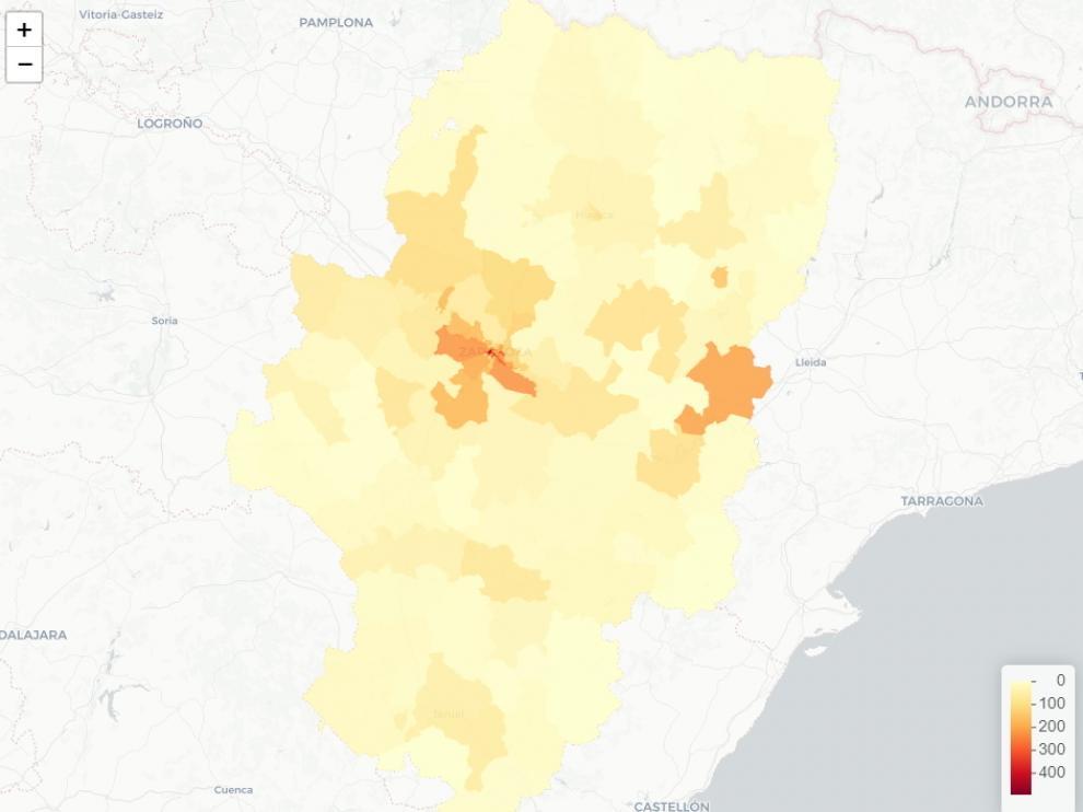 Mapa de Aragón con las zonas que tienen más casos de coronavirus en agosto