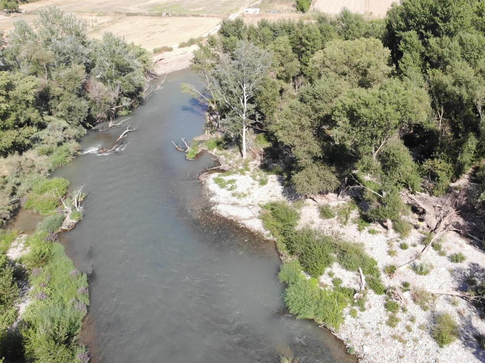 Imagen captada por un dron del lugar aproximado en el que se encontraba.
