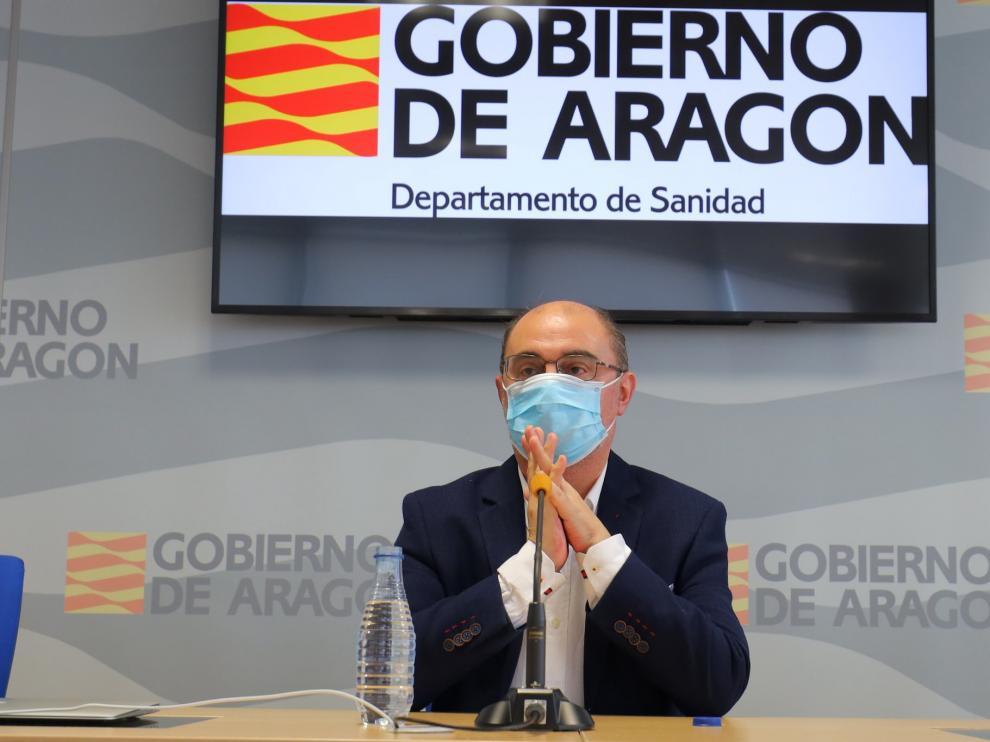 El presidente, Javier Lambán, en la presentación del dispositivo de rastreo, a principios de agosto