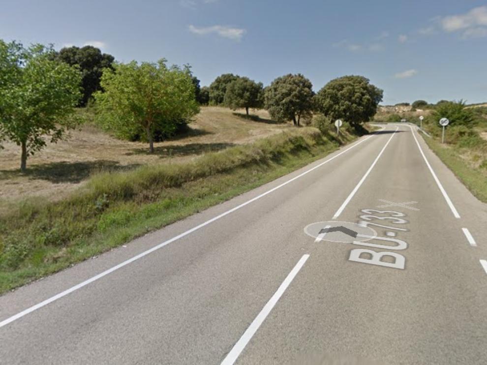 Carretera de Miranda de Burgos donde ocurrió el accidente.