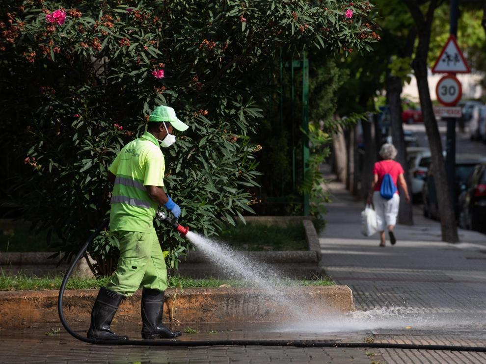 Un operario desinfecta las calles de Delicias, este viernes, junto al centro de salud de la Bombarda.