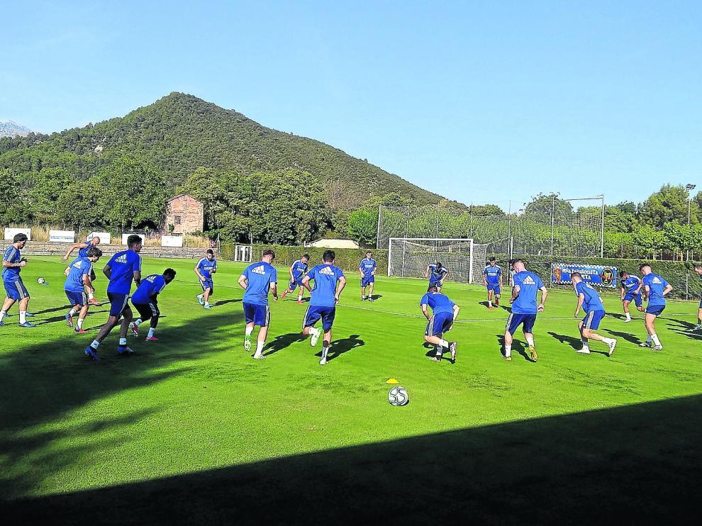 Vista general del campo de entrenamiento de Boltaña, en la pasada pretemporada