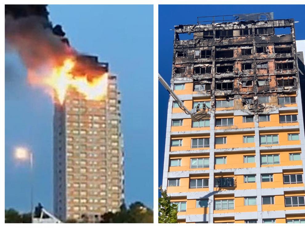 La parte superior del edificio, muy afectada por el fuego