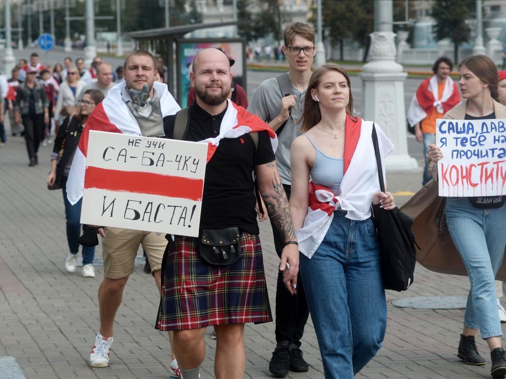 Manifestación de la oposición de Bielorrusia contra los resultados de las elecciones presidenciales.