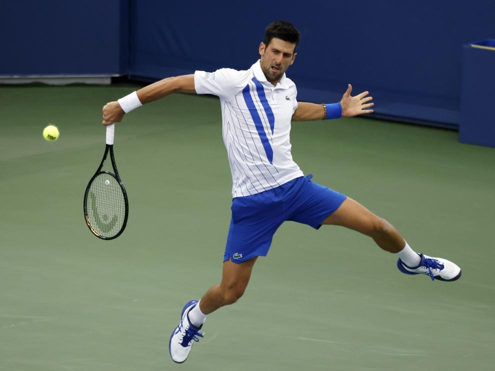 El serbio Novak Djokovic , en acción en la final de Cincinnati