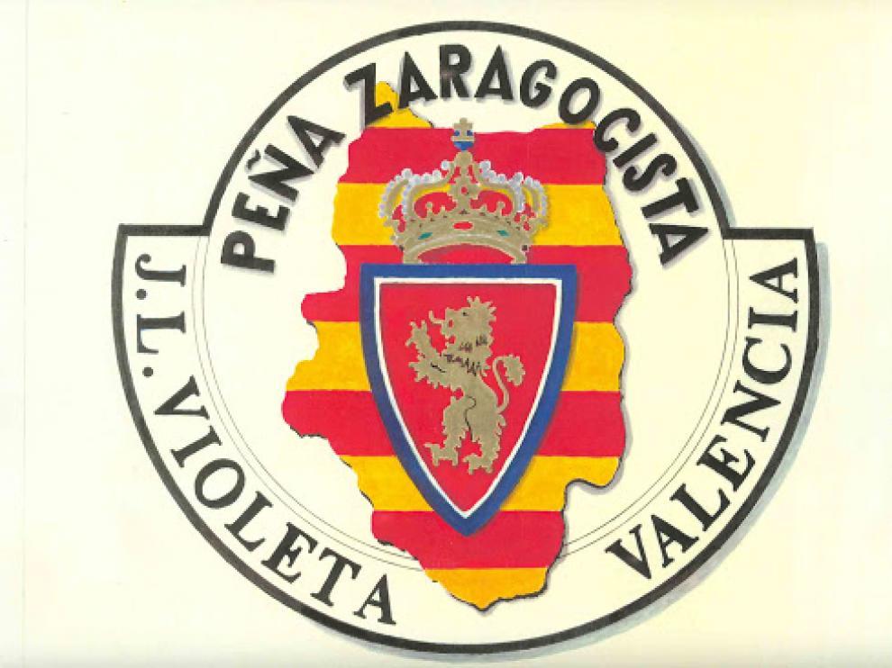 Escudo logotipo de la Peña Zaragocista 'José Luis Violeta' de Valencia, una de las pioneras de la Federación peñista blanquilla desde 1993.