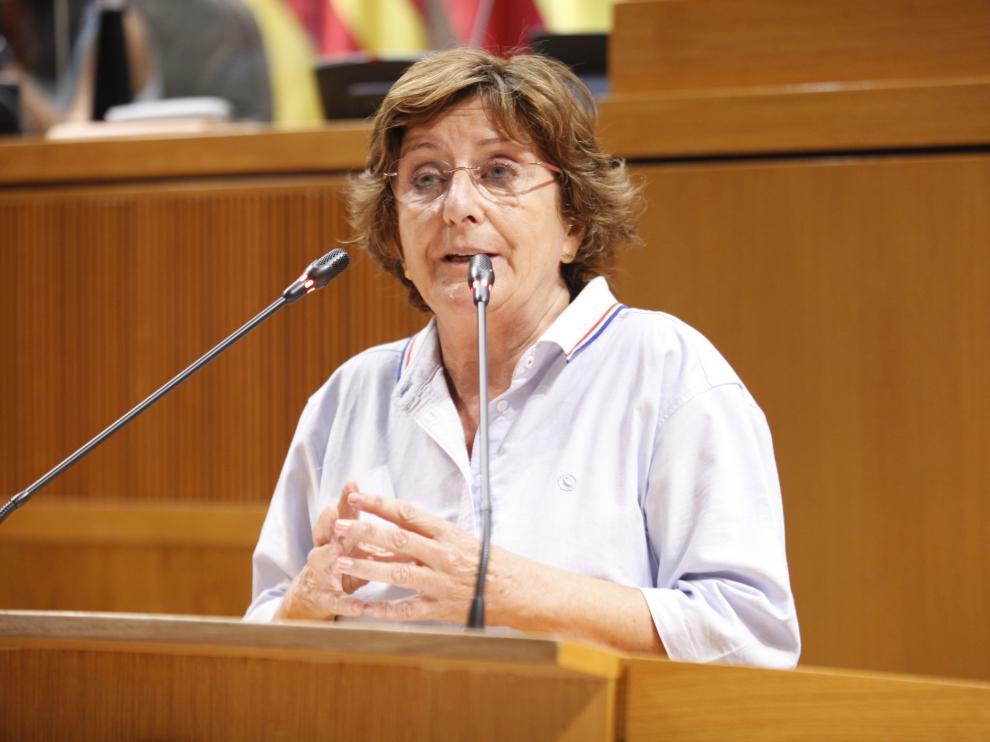 Mariví Broto, en el Pleno de las Cortes de Aragón de este viernes