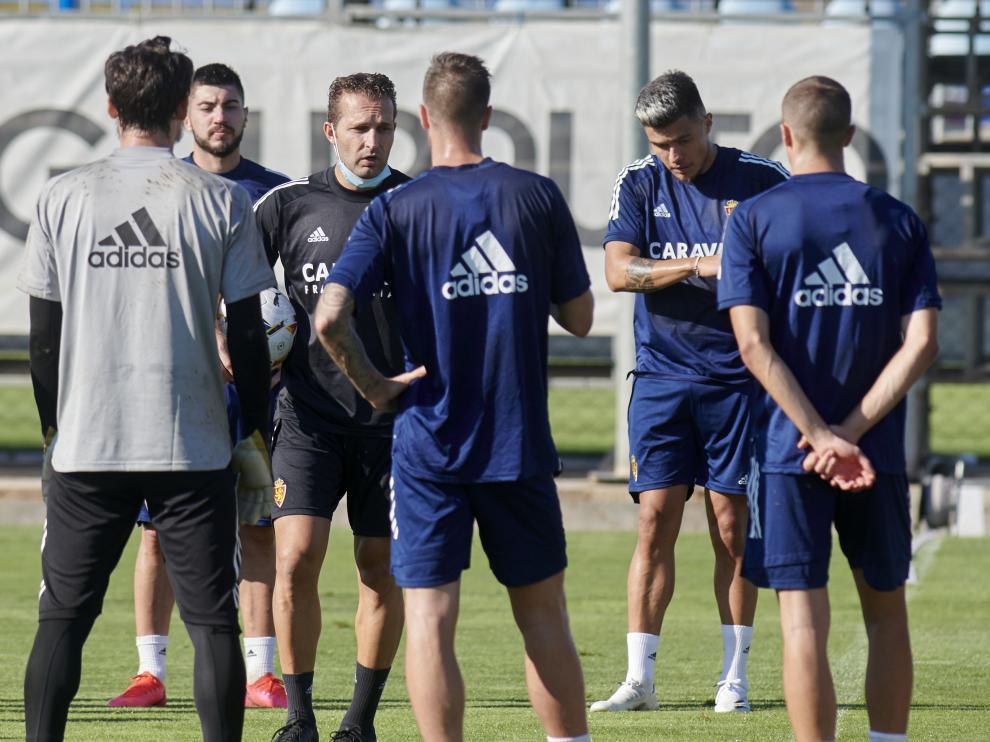 Entrenamiento del Real Zaragoza, este sábado.