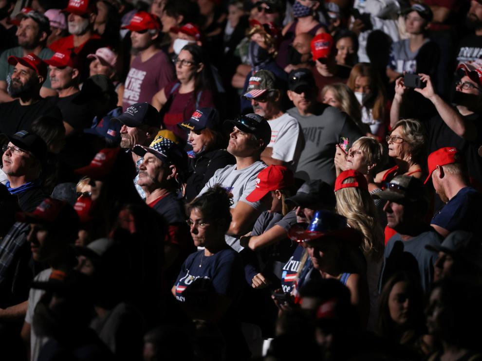 Seguidores de Trump, sin mascarilla, este domingo en un mitin en Nevada.